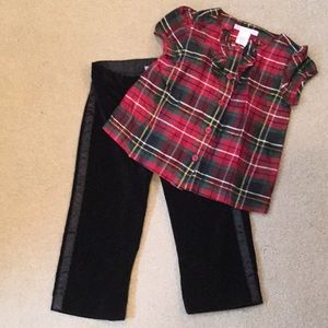 Baby girls Janie & Jack Plaid shirt, tuxedo pants